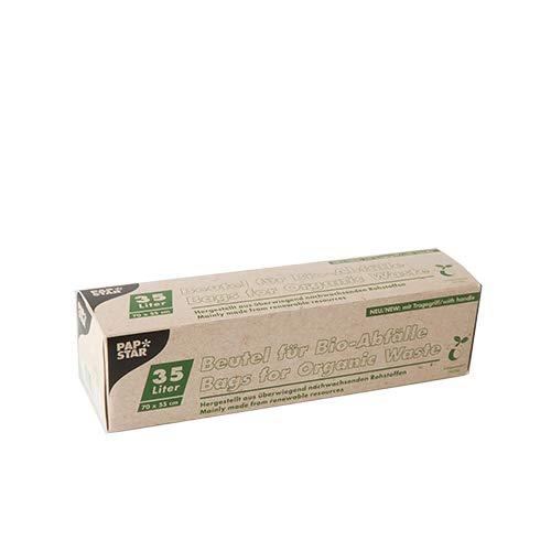 PAPSTAR 5 Kompostbeutel, Bio-Folie 35 l 70 cm x 55 cm grün mit Tragegriff, Sie erhalten 18 Packungen, Packungsinhalt: 5 Stück