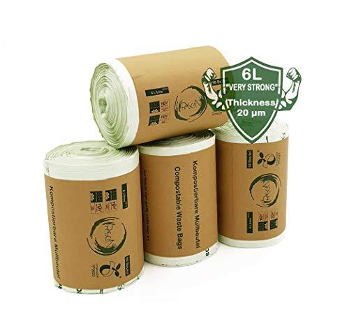 Rascan Biobasierte Biomüllbeutel - 6L Inhalt - 200 Stück. 100% biologisch abbaubar und kompostierbar. Müllbeutel geeignet für Biotonne, Kompost und Müll | Extra starke und reißfeste Abfallbeutel |