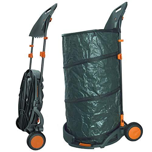 Agora-Tec® Laubsack / Gartensack 160l selbstaufstellend fahrbar mit Rädern und faltbahr inkl. Halterung für Laubbesen und Besen