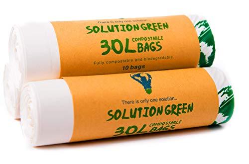 Solution Green 30L Kompostierbare Bio Müllbeutel Für Die Biotonne Oder Ihren Kompost, 30 Stück (30L)