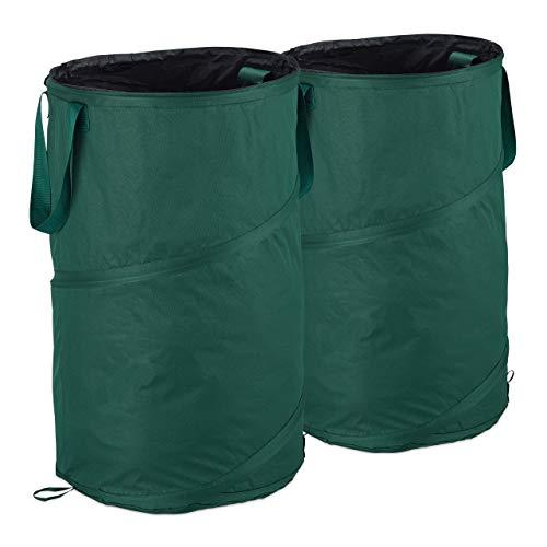Relaxdays, grün Laubsack selbstaufstellend, 2er-Set, Gartenabfallsack Pop-Up, 120 L, Gartensack selbststehend, ∅: 44 cm