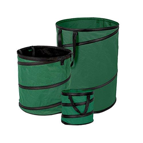 Fundwerk Pop-up Garten-Abfallsack 15L, 85L & 170L im 3er Set   Die Gartenabfallsäcke sind bestens geeignet als Laubsack und für Grünschnitt   dunkelgrün