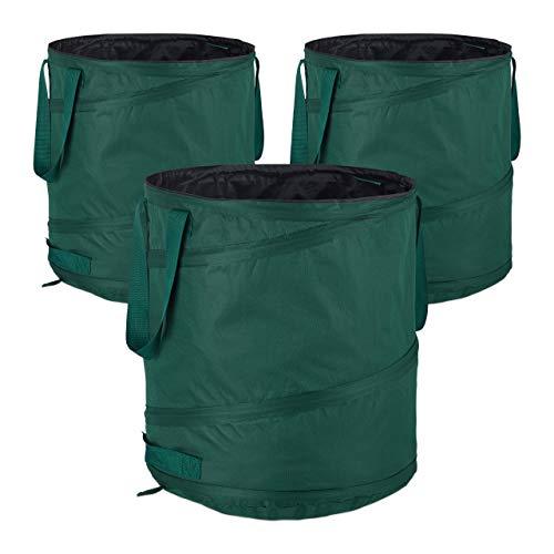 Relaxdays Laubsack selbstaufstellend, 3er-Set, Gartenabfallsack Pop-Up, 85L, Gartensack selbststehend, ∅: 46 cm, grün