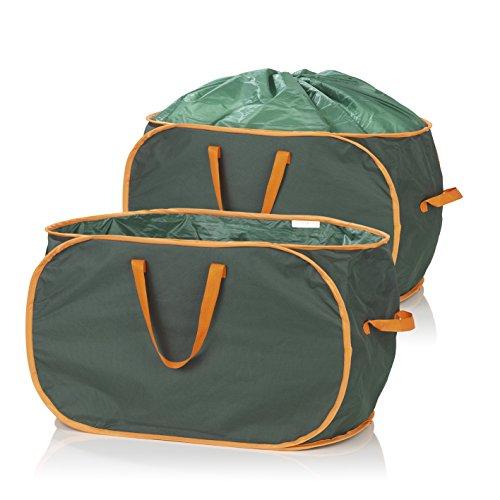 PRIMA GARDEN Verschließbare Gartenabfalltasche 333 Liter   2er Set   Reißfest   Wasserabweisend   3 Tragegriffe   Ideal für Laub, Gras & Beschnitt
