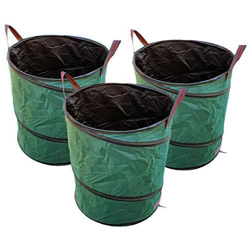 buy-safe.de 3X Pop-Up Gartensack Gartentonne 160 ltr Oxford Premium Qualität - selbstaufstellend