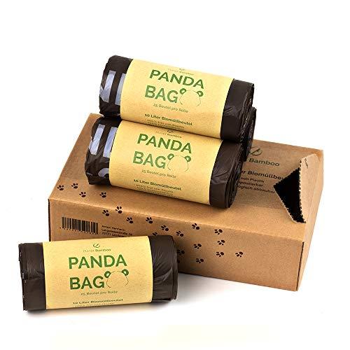 Planet Bamboo: Kompostierbare Bio-Müllbeutel (10 L mit Tragegriff | 100 Stück | Braun) 100% kompostierbare Biomüllsäcke | Biomülltüten nach EN 13432