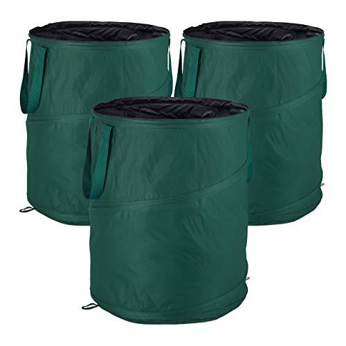 Relaxdays Laubsack selbstaufstellend, 3er-Set, Gartenabfallsack Pop-Up, 160 L, Gartensack selbststehend, ∅: 55 cm, grün