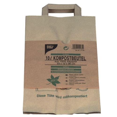 """Papstar 1 Karton = 20x15 Kompostbeutel aus Papier mit Henkel 10 l 28 cm x 22 cm x 14 cm braun """"bedruckt"""" 14185"""