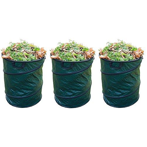 Grafner® 3er Set Pop-Up Gartentasche/Laubsack rund grün 45x50 cm 80L