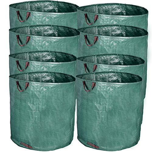 EUGAD 8er Set Gartensack, 500L Gartenabfallsack, selbststehend und faltbar, PP Abfallsäcke für Gartenabfälle Laub Rasen Pflanz