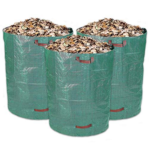 Schramm® 3 Stück Gartensäcke 300L Grün Robusten Polypropylen Gewebe PP Gartensack Garten Sack Säcke Grünschnitt Gartenabfall Big Bag 3er Pack