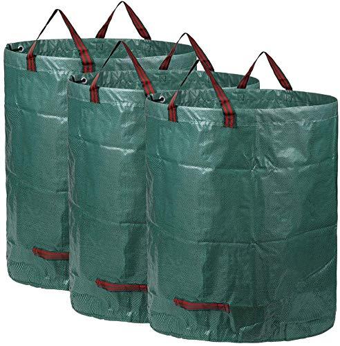 AIXMEET Gartenabfallsack, 300L Garten Laubsack Selbststehend aus Robuste Wasserdichtes Polypropylen-Gewebe (PP) (3 Pack)