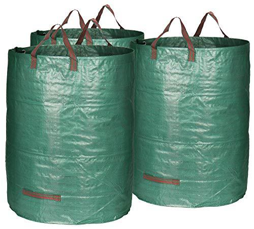 com-four® 3X Gartensack mit Tragegriffen - Faltbarer Gartenabfallsack - Reißfeste Falttonne für Laub und Grünschnitt (03 Stück - 300 Liter)
