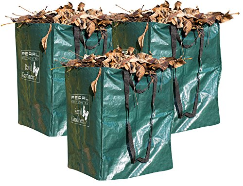 Royal Gardineer Gartenabfallsack: 3er-Set Gartensäcke für Laub & Co, bis 120 Liter & 25 kg, rechteckig (Laubsack)