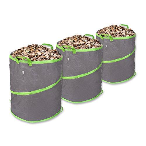 Schramm® 3 Stück Pop Up Gartensäcke 85L Grün/Grau Sehr Stabiles Polyester Oxford Selbst Aufstellend Gartensack Pop UP Garten Sack Säcke Big Bag