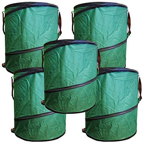 5x Gartenabfalltonne Pop Up faltbarer Gartensack 160 Liter Laubsack Maxi Set aus stabilen Oxford Nylon bis 50 Kilo