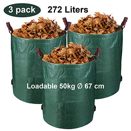 BMOT 3er Set Gartensack, 272L Gartenabfallsack, aus robustem Polyethylen(PE) Selbststehend Faltbar Laubsäcke Gartensäcke, für Gartenabfälle Grünschnitt