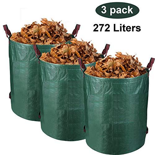 VINGO Gartensack 2 x 272 Liter - Selbstaufstellende Gartenabfallsäcke aus extrem robustem Polyethylen(PE), selbststehend Faltbar Laubsäcke