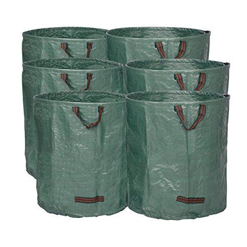WOLTU® 6X Gartensack 272L XXL Abfallsack Selbstaufstellend Laubsack Gartenabfälle Sack PP Gartenabfallbehälter Gartentasche 150g/m²