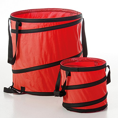Gaardi 2er Set Pop-Up Sack 85 und 15 Liter Gartensack, Spielzeugsack, Wäschesack, Laubsack, Abfallsack (Rot)