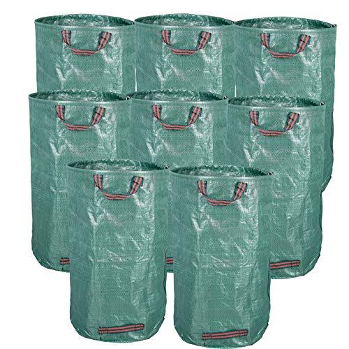 EUGAD 8er Set Gartensack, 120L Gartenabfallsack, selbststehend und faltbar, PP Abfallsäcke für Gartenabfälle Laub Rasen Pflanz