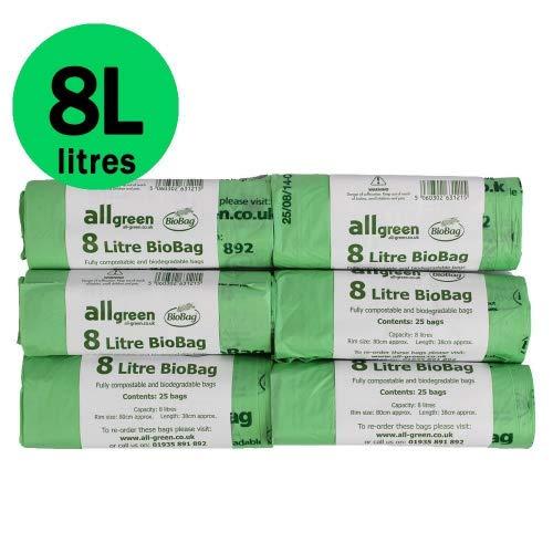 150 Beutel, je 8 Liter, kompostierbare 8L-Beutel für Küchenabfälle - Abfallbeutel für Essensreste - EN 13432 - Kompostbeutel