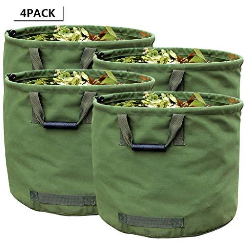 WHT 4-Stück 125L Gartenabfallsäcke für Schwere Aufgaben mit Griffen, Grüne Laubsack mit Militärischem Segeltuchgewebe (H45.7 cm, D55.8 cm)