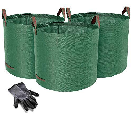 Norjews 3er Set Gartensack, 120L Gartenabfallsack aus robustem Wasserdichtes Polypropylen-Gewebe (PP) - Selbststehend und Faltbar Laubsäcke, inkl. Geschenk 1 Paar Gartenhandschuhe