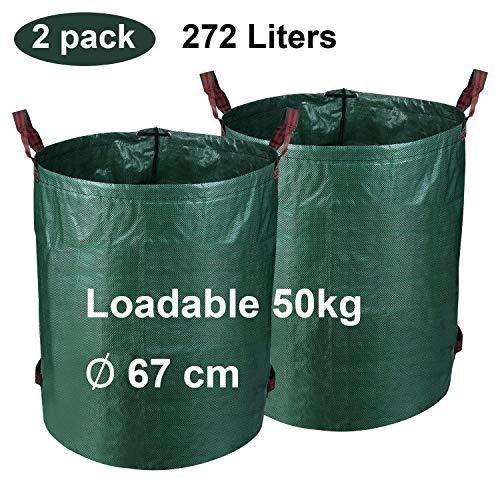 Hengda 2X Gartensack Gartenabfallsack Selbstaufstellend 272L Gartentasche, aus robustem Polyethylen (PE), Laubsack Gartenabfälle reißfest recyclingfähig