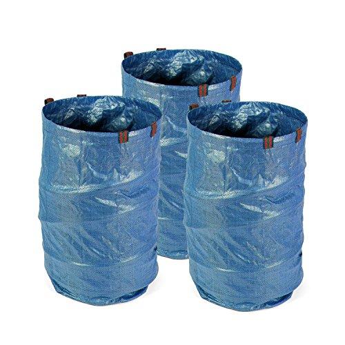 Fundwerk Garten-Abfallsack 272 L im 3er Set | Die Gartenabfallsäcke sind bestens geeignet als Laubsack und für Grünschnitt | blau