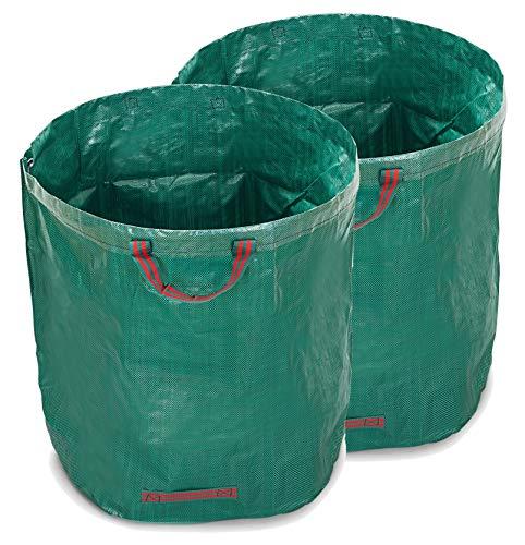 WUNDERGARDEN 2X 500L Gartenabfälle, Laub, Grünschnitt, Pflanzenabfälle, Kompost - Rundes Format, selbststehend und faltbar - Laubsäcke & Gartensäcke