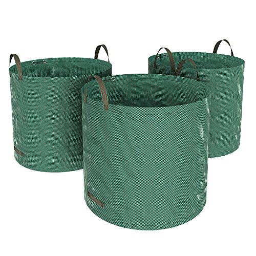 SONGMICS 3er Set Gartensack, 300L Gartenabfallsack, Abfallsack für Gartenabfälle, faltbar, Grün GTS300GNV1