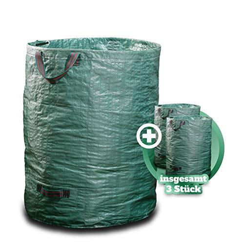 GARSA Gartenabfallsack 3 x 300 Liter - Premium Gartensack mit Verstärkten Griffen und Doppeltem Boden - Laubsack Selbstaufstellend und Faltbar