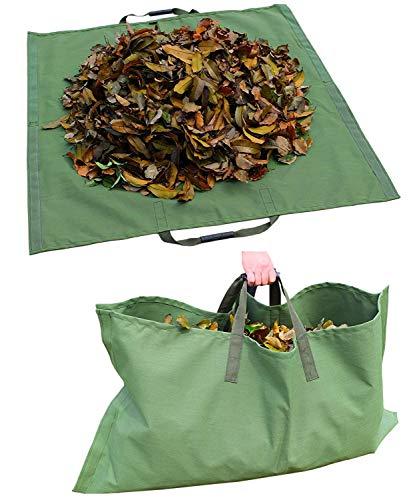 WHT Packung mit 4 Großen 272L Gartenabfallsäcke für Schwere Aufgaben mit Griffen, Grüne Laubsack mit PP-Gewebe (H76 cm, D67 cm)