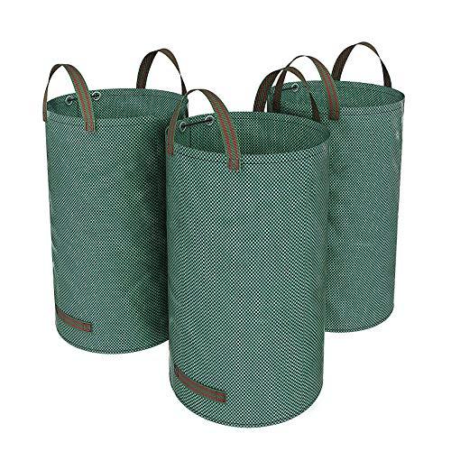 SONGMICS 3er Set Gartensack 120L Gartenabfallsack, Abfallsack für Gartenabfälle, faltbar, Grün GTS120L