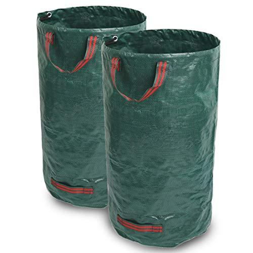 Giovara Gartenabfallsäcke, 500 l, wasserdicht, robust, groß, mit Griffen, faltbar und wiederverwendbar, 2 Stück