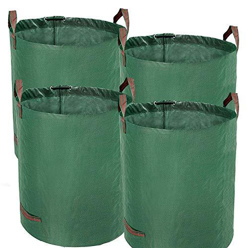 TerCasa Gartensack 4er Pack, Abfallsack 272 L, Gartenabfallsack Höhe 76 cm, Ø 67 cm, Sack für Gartenabfälle aus reißfestem Polypropylen-Gewebe, mit Verstärkungsring und 4 Griffen, grün