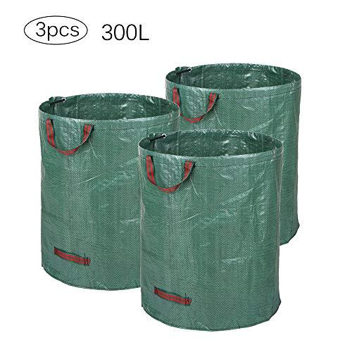 ALLOMN Packung mit 3 Gartentaschen, Blattgemüse Abfallbeutel Mehrweg Gartentasche mit Griffen (272L, H76 cm, D67 cm / 300L, H84 cm, D67 cm) (300L)
