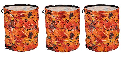Fachhandel Plus 3er Set Garten-Abfallsack Pop-Up PE Laubsack Rasensack Gartentasche 120 L bunt