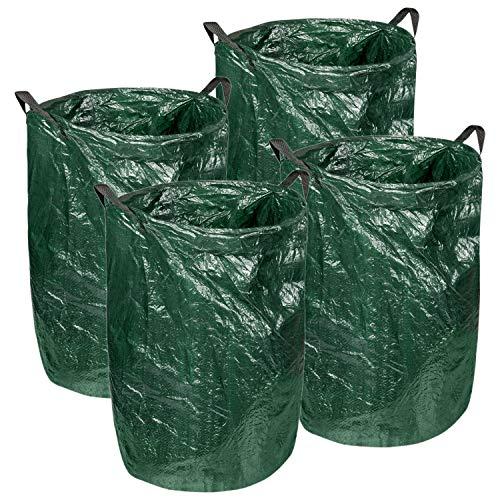 4er Set Gartenabfallsack 120 Liter Laubsack mit Metallring zum Verstärken der Öffnung | Tragegriffe für leichten Transport | ideal für Gartenabfällen, Gras, Laub | grüner Kunststoff | 45 x 75cm