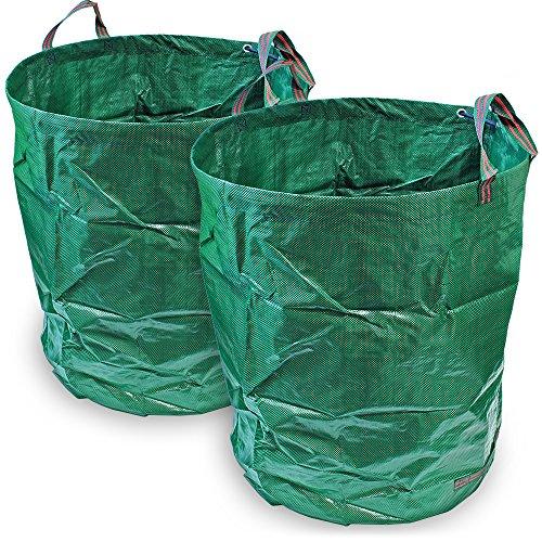 CampTeck U6716-KIT 2X 500 Liter Gartensäcke Polypropylen-Gewebe Gartenabfallsäck Wiederverwendbar Laubsack Faltbar Abfallsack
