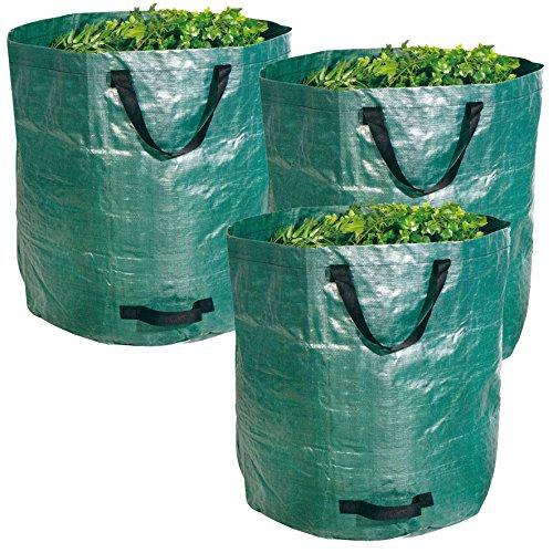 BigDean Gartenabfallsack XXL 272L - Extra robustes Polypropylen-Gewebe 150g/m² - wasserdicht & reißfest - Perfekter Behälter für Laub, Müll, Grünabfall, Grüngut & Kompost - 3er Set